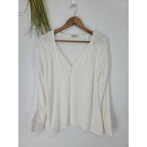 Farrow Small Blouse White Crepe Button Long Sleeve